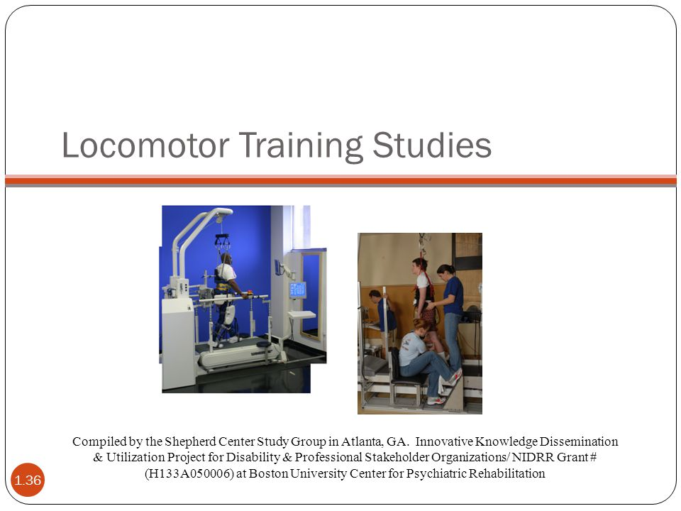Locomotor Training Studies Compiled by the Shepherd Center Study Group in Atlanta, GA. Innovative Knowledge Dissemination & Utilization Project for Di