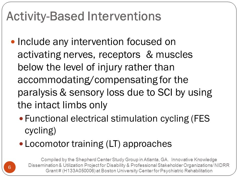 Neural-related Benefits of FES Cycling Only one of 17 articles reviewed for neural and functional effects of FES Cycling in people with SCI between 1989 and 2009 (Griffin et al.