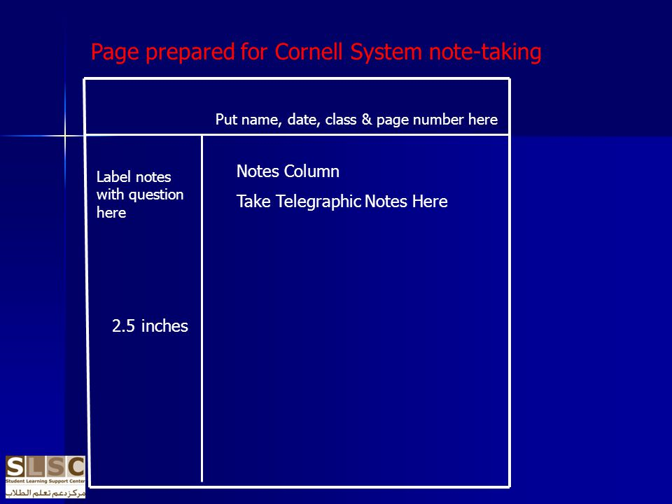 Label notes with question here 2.5 inches Put name, date, class & page number here Notes Column Take Telegraphic Notes Here Page prepared for Cornell System note-taking