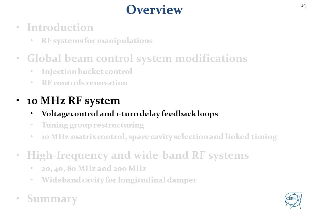 14 Overview Introduction RF systems for manipulations Global beam control system modifications Injection bucket control RF controls renovation 10 MHz