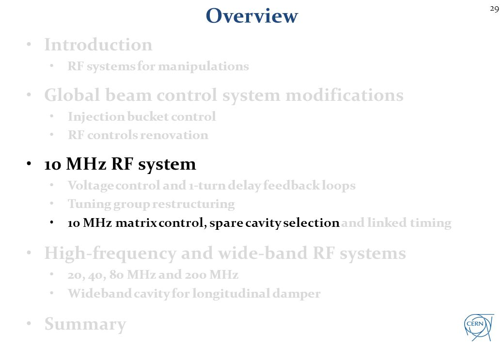 29 Overview Introduction RF systems for manipulations Global beam control system modifications Injection bucket control RF controls renovation 10 MHz