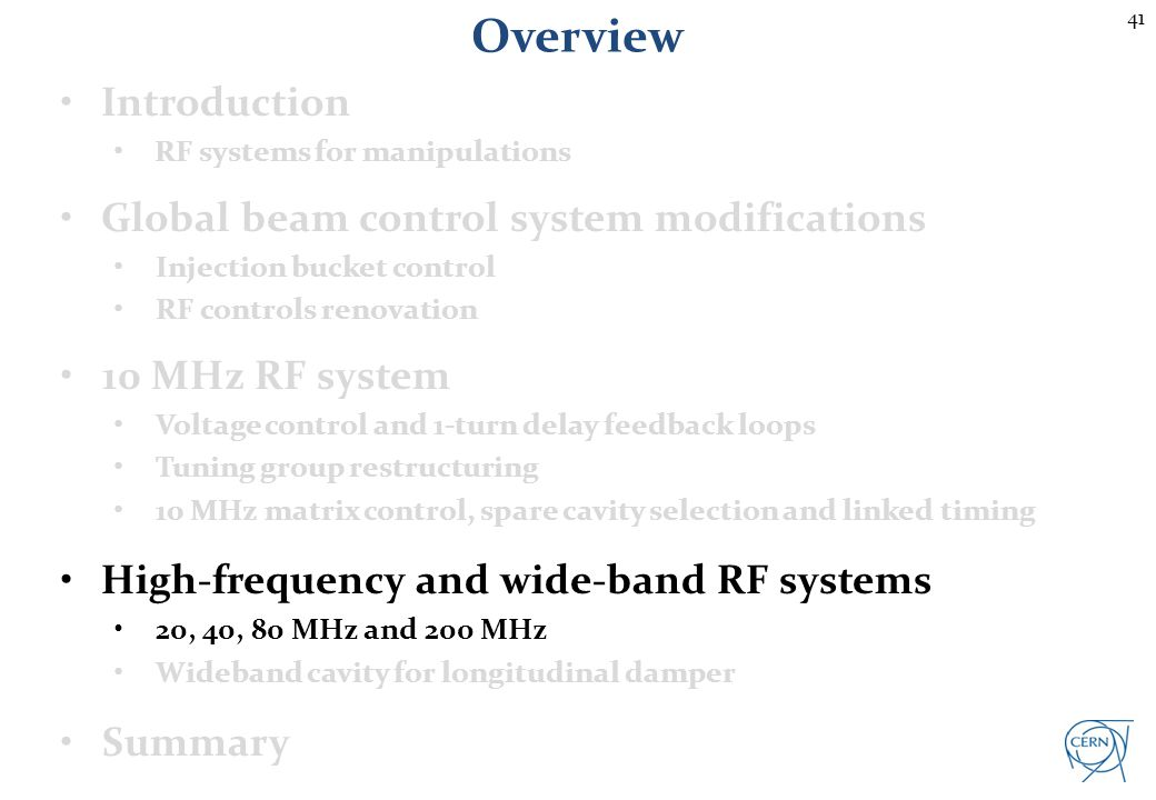 41 Overview Introduction RF systems for manipulations Global beam control system modifications Injection bucket control RF controls renovation 10 MHz