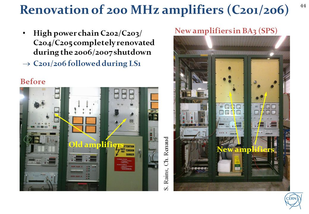 44 Renovation of 200 MHz amplifiers (C201/206) Before New amplifiers in BA3 (SPS) Old amplifiers High power chain C202/C203/ C204/C205 completely reno