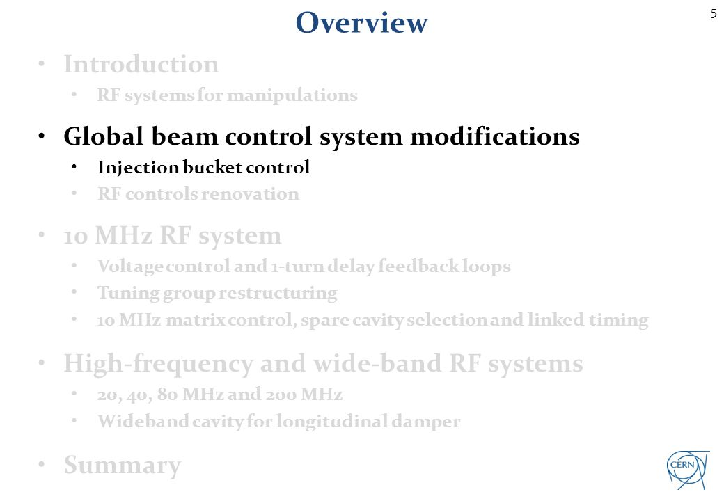 5 Overview Introduction RF systems for manipulations Global beam control system modifications Injection bucket control RF controls renovation 10 MHz R