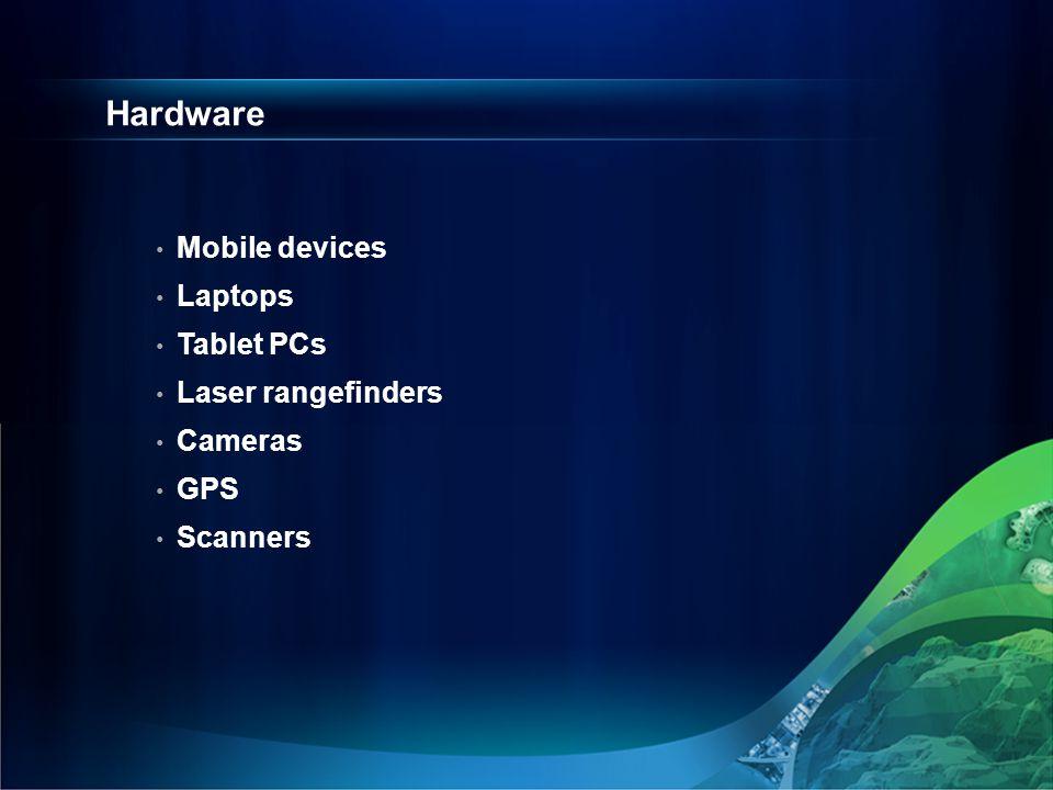 Hardware Mobile devices Laptops Tablet PCs Laser rangefinders Cameras GPS Scanners