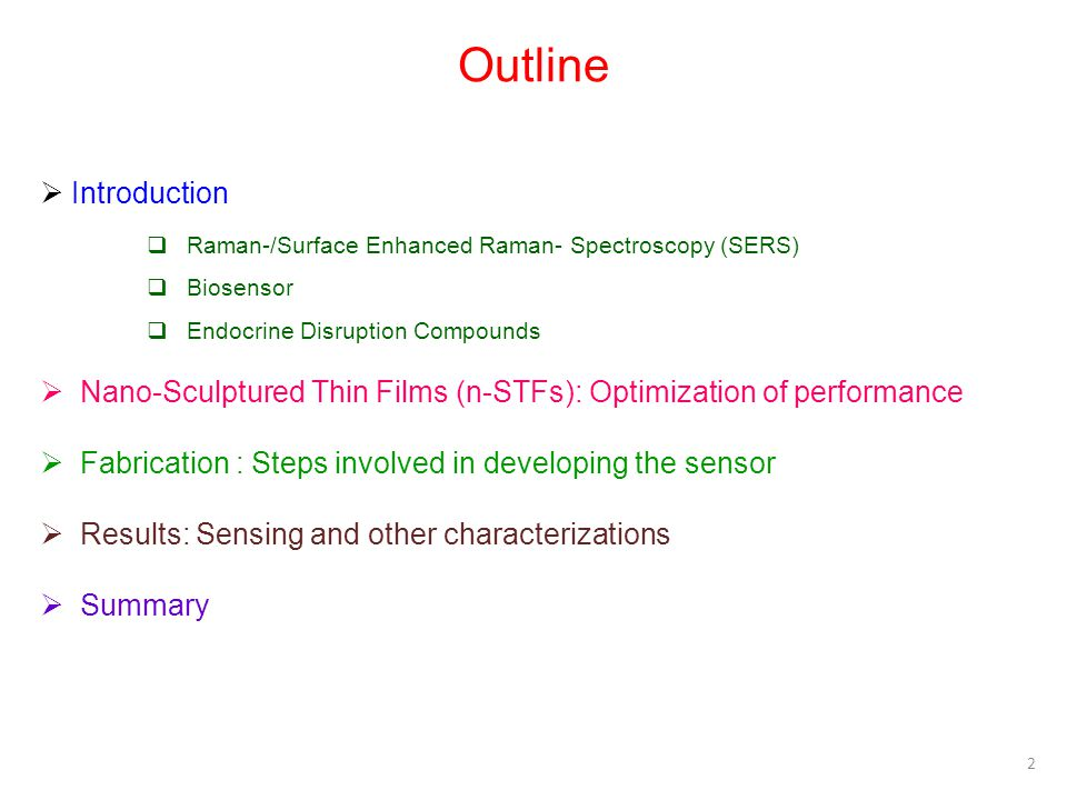 Outline Introduction Raman-/Surface Enhanced Raman- Spectroscopy (SERS) Biosensor Endocrine Disruption Compounds Nano-Sculptured Thin Films (n-STFs):