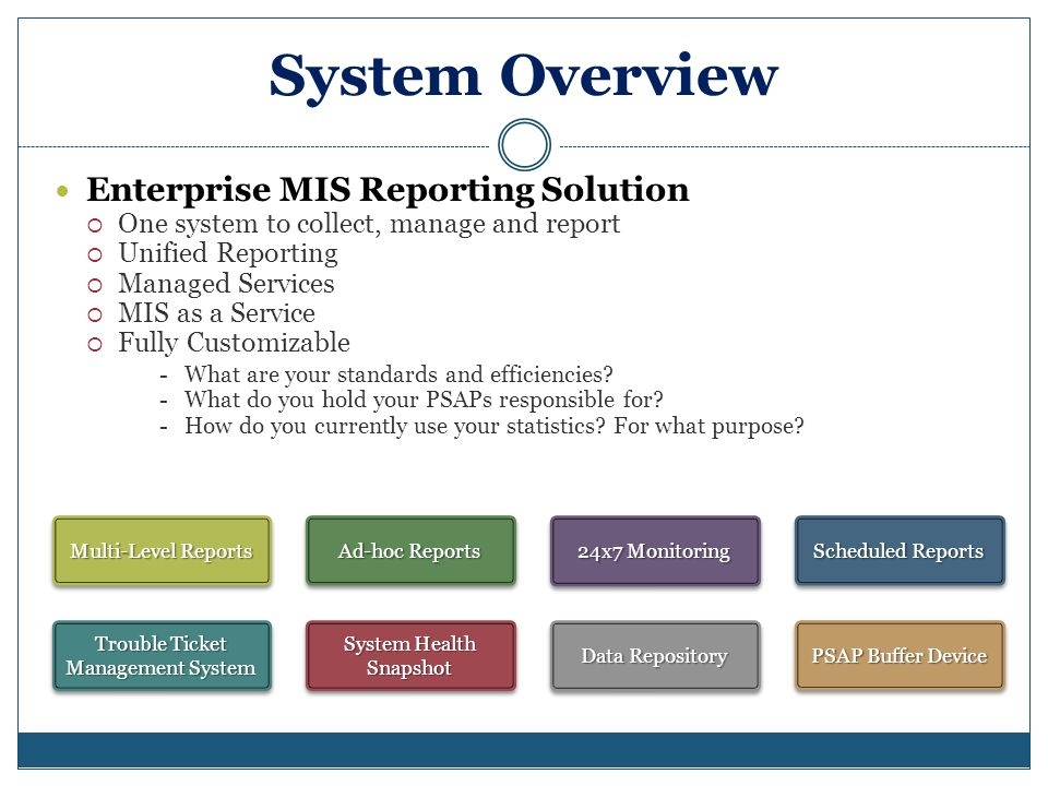 System Overview Enterprise MIS Reporting Solution One system to collect, manage and report Unified Reporting Managed Services MIS as a Service Fully Customizable - What are your standards and efficiencies.