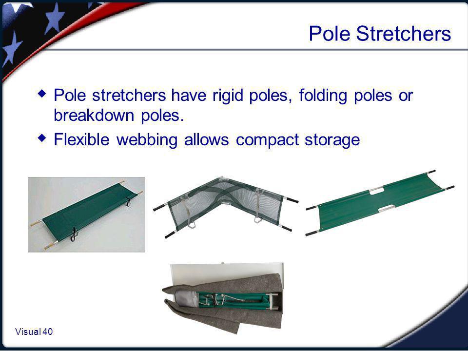 Visual 1.40 Visual 40 Pole Stretchers Pole stretchers have rigid poles, folding poles or breakdown poles. Flexible webbing allows compact storage