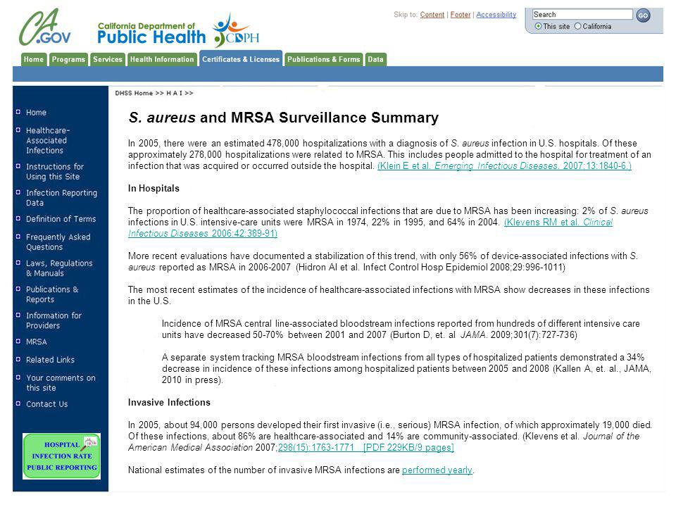 S. aureus and MRSA Surveillance Summary In 2005, there were an estimated 478,000 hospitalizations with a diagnosis of S. aureus infection in U.S. hosp