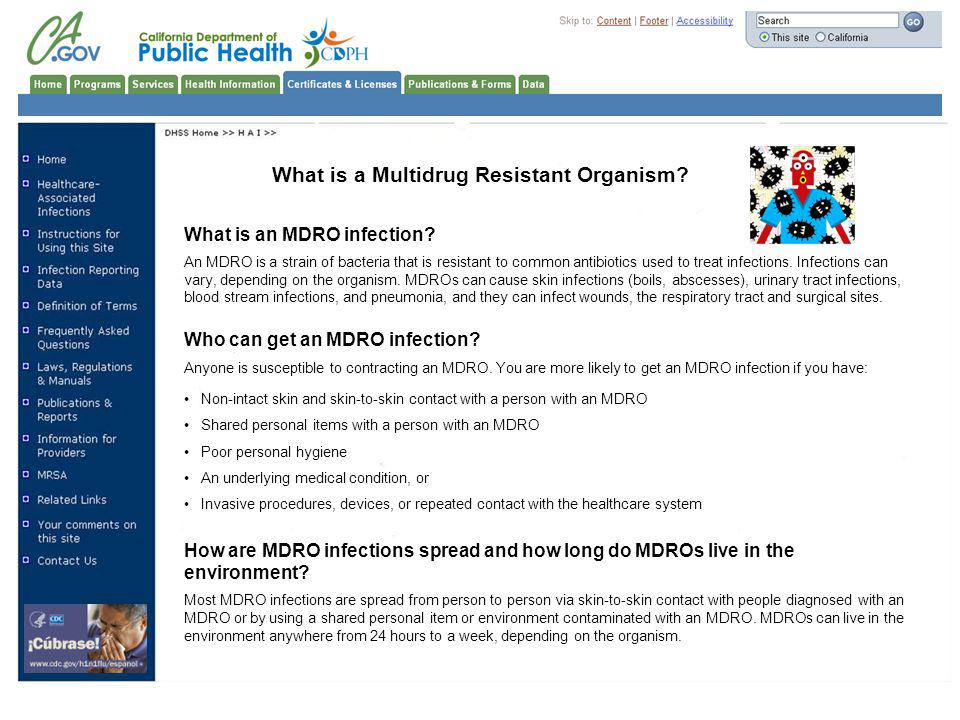 What is a Multidrug Resistant Organism.What is an MDRO infection.