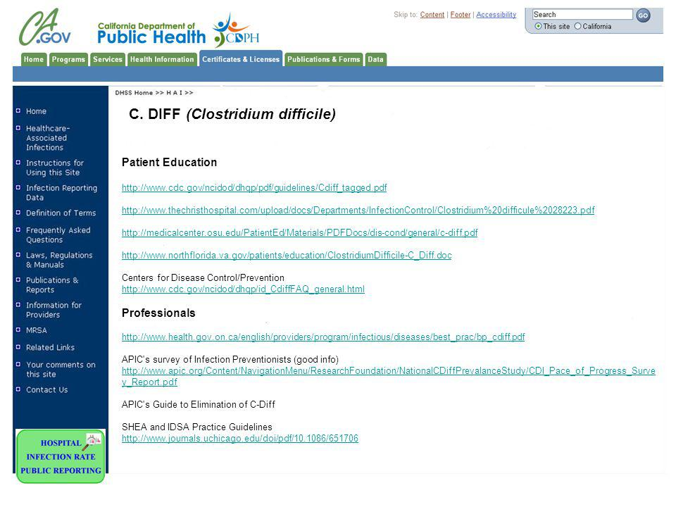 C. DIFF (Clostridium difficile) Patient Education http://www.cdc.gov/ncidod/dhqp/pdf/guidelines/Cdiff_tagged.pdf http://www.thechristhospital.com/uplo