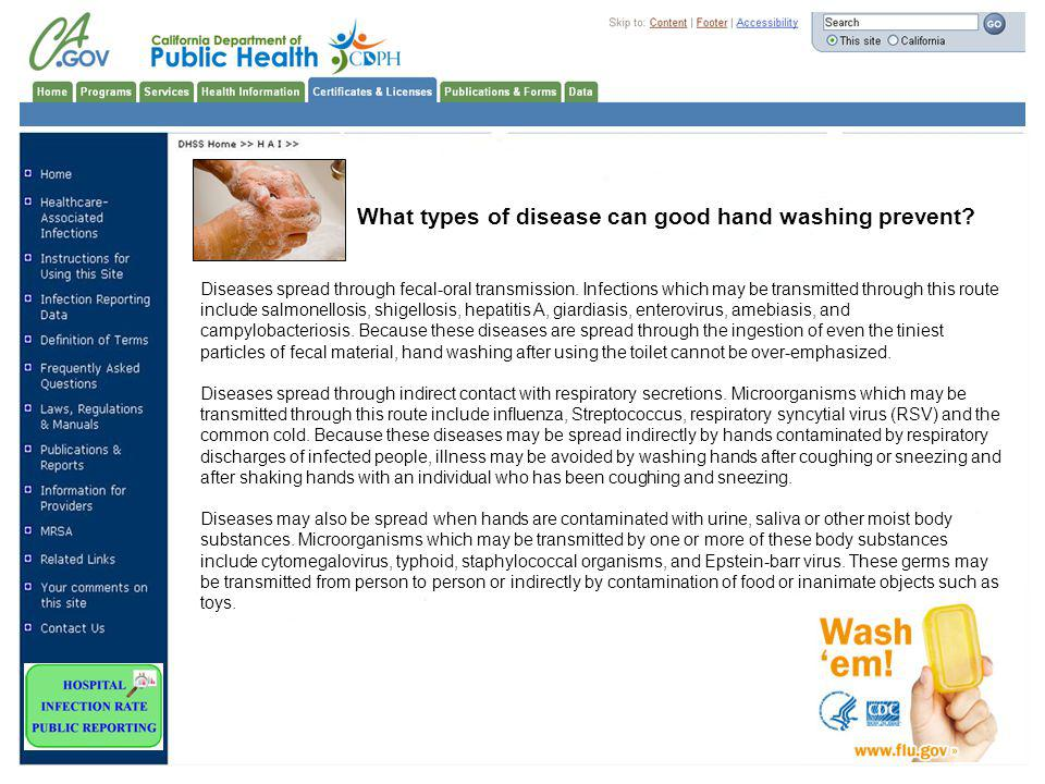 What types of disease can good hand washing prevent.