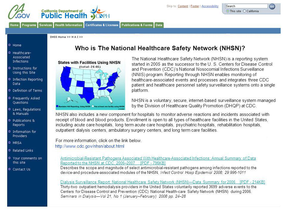 Who is The National Healthcare Safety Network (NHSN).
