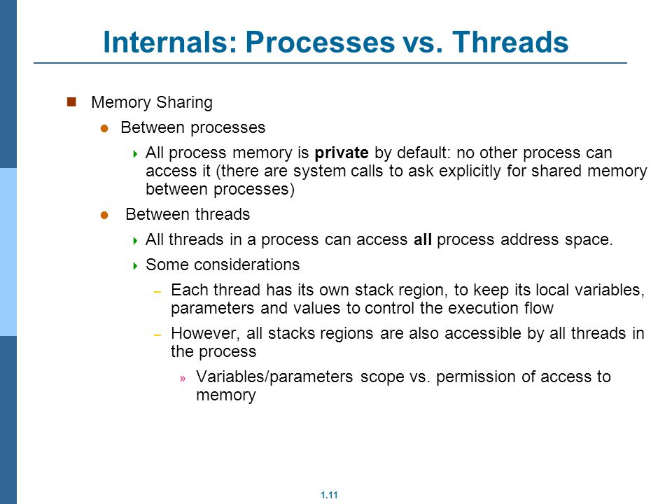 1.11 Memory Sharing Between processes All process memory is private by default: no other process can access it (there are system calls to ask explicitly for shared memory between processes) Between threads All threads in a process can access all process address space.