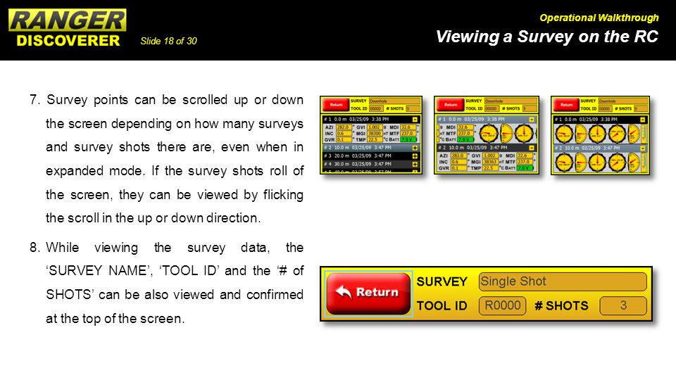Slide 18 of 30 Viewing a Survey on the RC Operational Walkthrough 7.