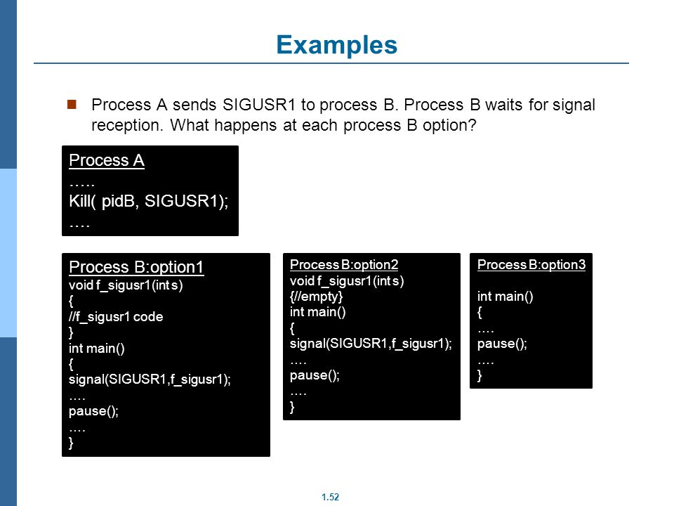 1.52 Examples Process A sends SIGUSR1 to process B. Process B waits for signal reception. What happens at each process B option? Process A ….. Kill( p