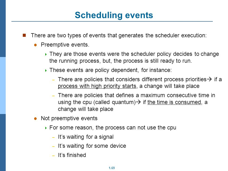 1.69 Scheduling events There are two types of events that generates the scheduler execution: Preemptive events. They are those events were the schedul