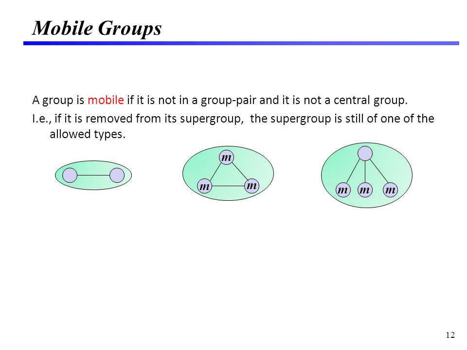 Mobile Groups A group is mobile if it is not in a group-pair and it is not a central group.