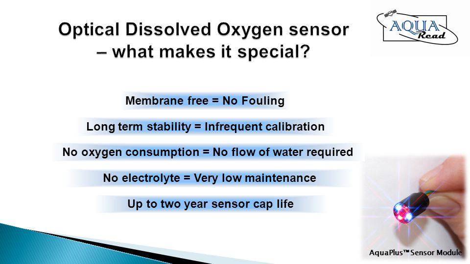 Membrane free = No Fouling Long term stability = Infrequent calibration No oxygen consumption = No flow of water required No electrolyte = Very low maintenance Up to two year sensor cap life AquaPlus Sensor Module