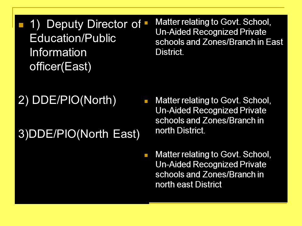 2 1) Deputy Director of Education/Public Information officer(East) 2) DDE/PIO(North) 3)DDE/PIO(North East) Matter relating to Govt. School, Un-Aided R
