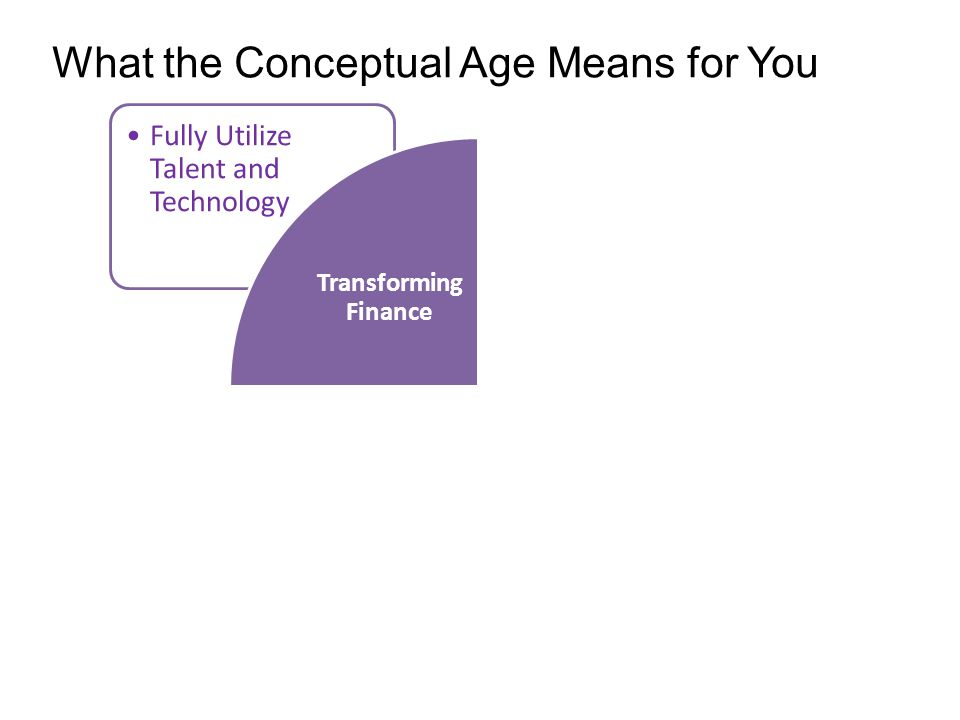 Fully Utilize Talent and Technology Transforming Finance What the Conceptual Age Means for You