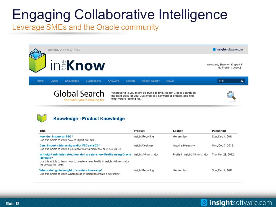 Slide 18 Leverage SMEs and the Oracle community Engaging Collaborative Intelligence