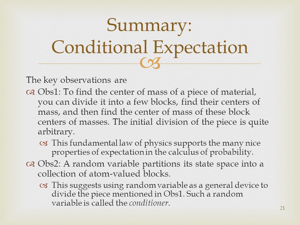 The key observations are Obs1: To find the center of mass of a piece of material, you can divide it into a few blocks, find their centers of mass, and