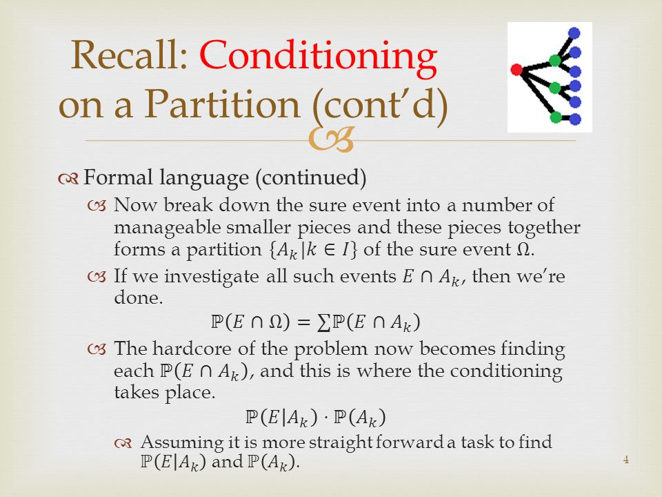 Recall: Conditioning on a Partition (contd) 4