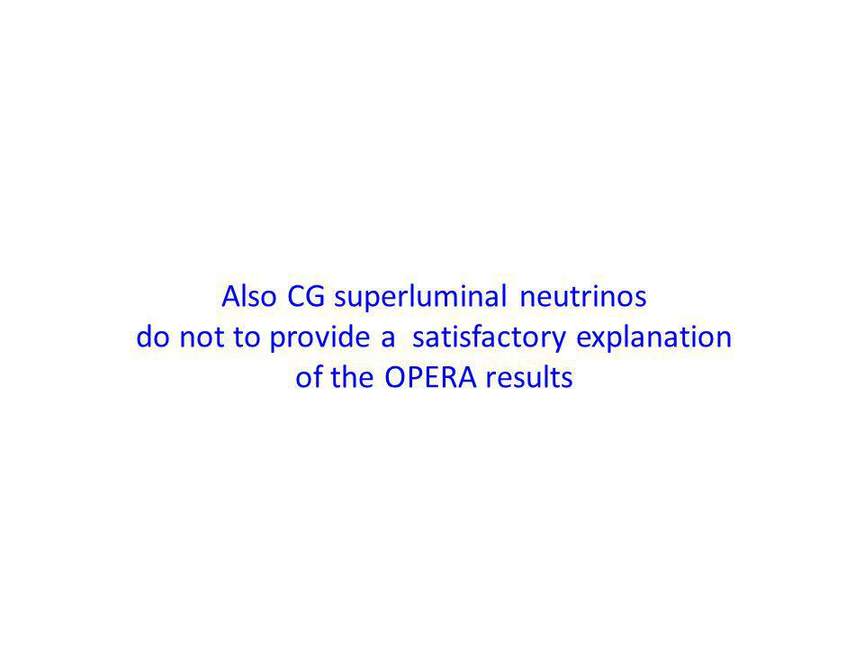 Also CG superluminal neutrinos do not to provide a satisfactory explanation of the OPERA results