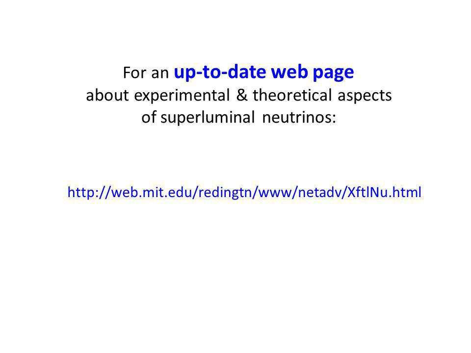 For an up-to-date web page about experimental & theoretical aspects of superluminal neutrinos: