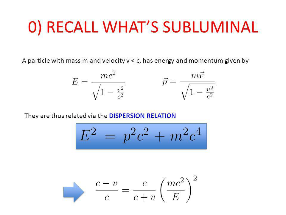 0) RECALL WHATS SUBLUMINAL A particle with mass m and velocity v < c, has energy and momentum given by They are thus related via the DISPERSION RELATION