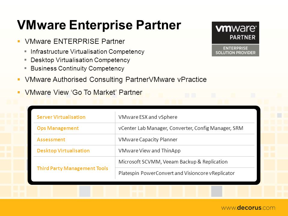VMware Enterprise Partner VMware ENTERPRISE Partner Infrastructure Virtualisation Competency Desktop Virtualisation Competency Business Continuity Competency VMware Authorised Consulting PartnerVMware vPractice VMware View Go To Market Partner Server VirtualisationVMware ESX and vSphere Ops ManagementvCenter Lab Manager, Converter, Config Manager, SRM AssessmentVMware Capacity Planner Desktop VirtualisationVMware View and ThinApp Third Party Management Tools Microsoft SCVMM, Veeam Backup & Replication Platespin PowerConvert and Visioncore vReplicator
