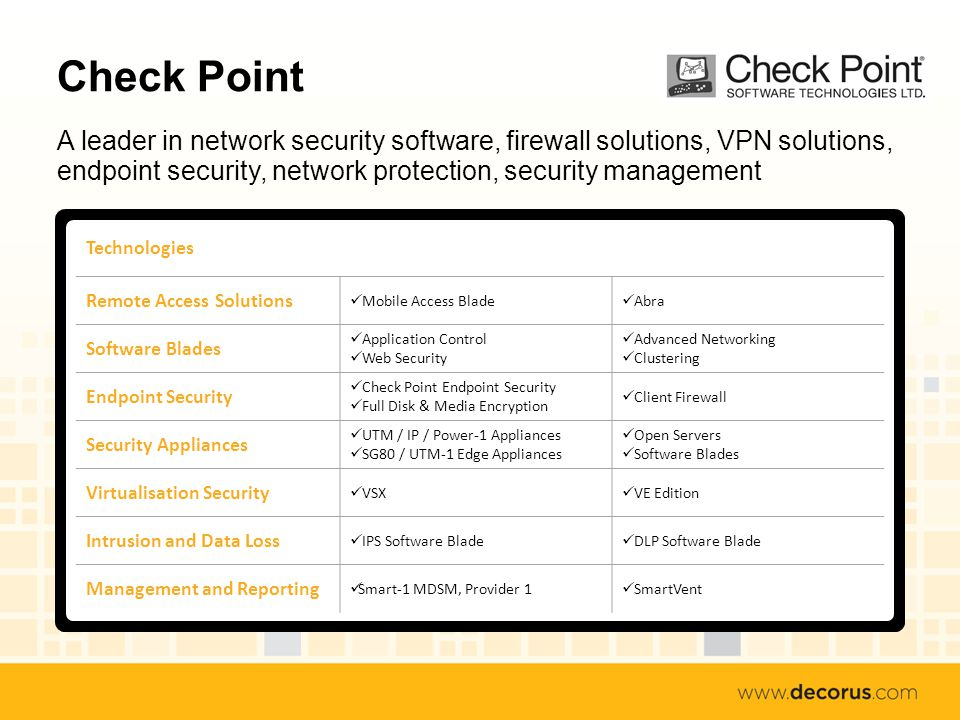 Check Point A leader in network security software, firewall solutions, VPN solutions, endpoint security, network protection, security management Technologies Remote Access Solutions Mobile Access Blade Abra Software Blades Application Control Web Security Advanced Networking Clustering Endpoint Security Check Point Endpoint Security Full Disk & Media Encryption Client Firewall Security Appliances UTM / IP / Power-1 Appliances SG80 / UTM-1 Edge Appliances Open Servers Software Blades Virtualisation Security VSX VE Edition Intrusion and Data Loss IPS Software Blade DLP Software Blade Management and Reporting Smart-1 MDSM, Provider 1 SmartVent