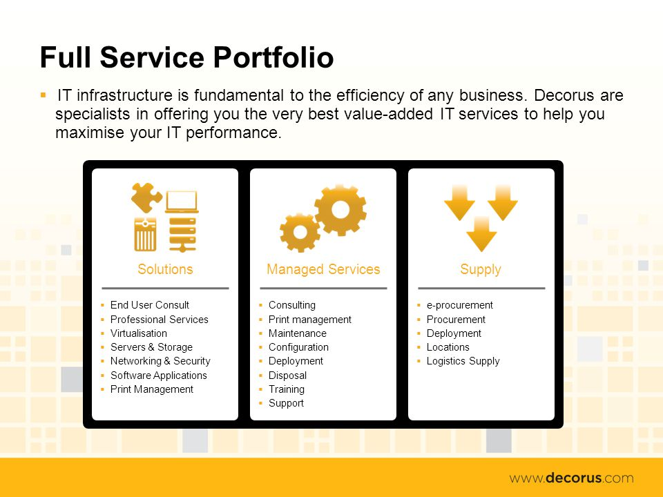 Full Service Portfolio IT infrastructure is fundamental to the efficiency of any business.