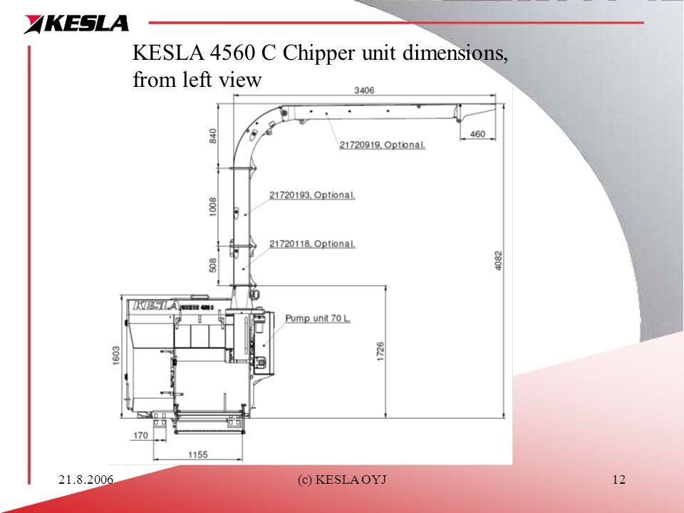 21.8.2006(c) KESLA OYJ12 KESLA 4560 C Chipper unit dimensions, from left view