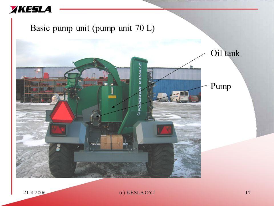 21.8.2006(c) KESLA OYJ17 Basic pump unit (pump unit 70 L) Oil tank Pump