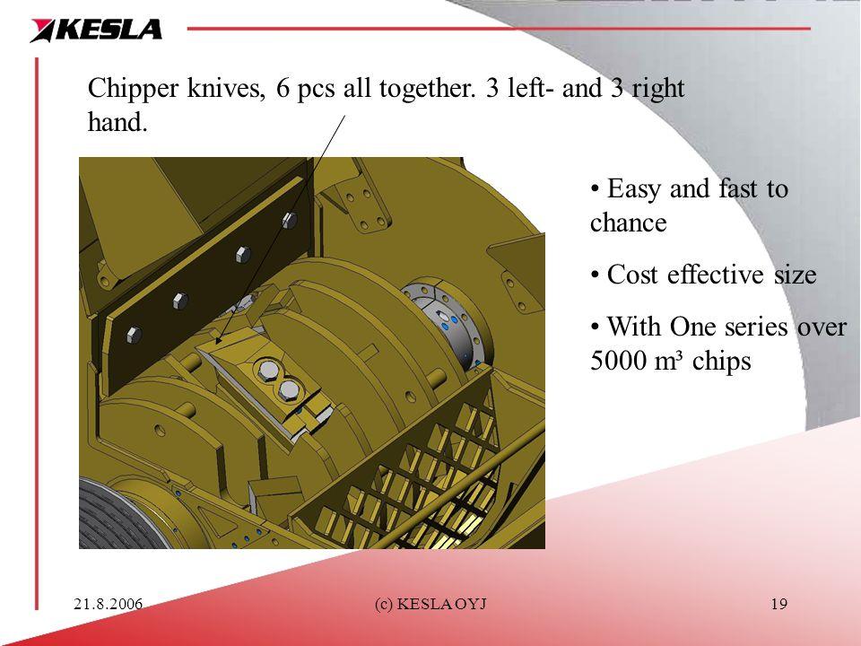 21.8.2006(c) KESLA OYJ19 Chipper knives, 6 pcs all together.
