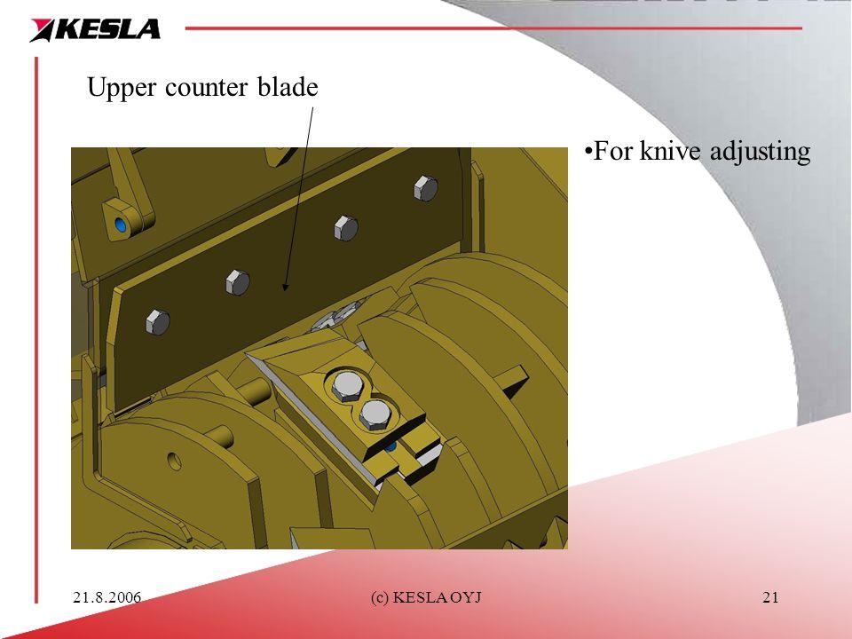 21.8.2006(c) KESLA OYJ21 Upper counter blade For knive adjusting