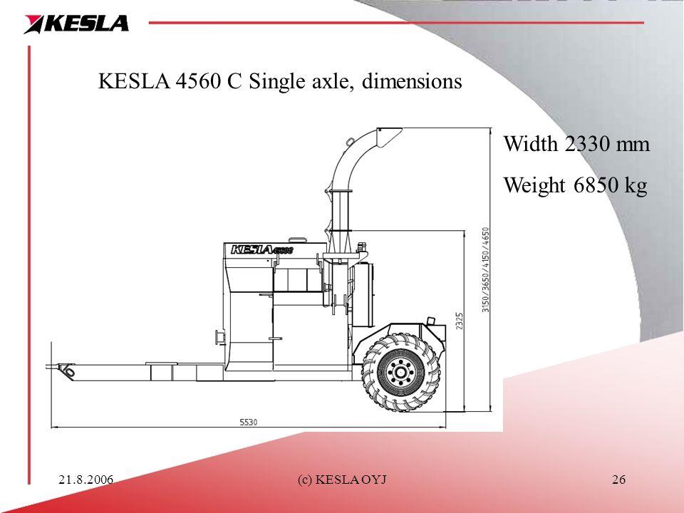 21.8.2006(c) KESLA OYJ26 KESLA 4560 C Single axle, dimensions Width 2330 mm Weight 6850 kg