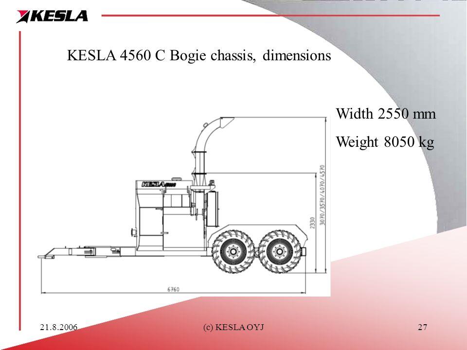 21.8.2006(c) KESLA OYJ27 KESLA 4560 C Bogie chassis, dimensions Width 2550 mm Weight 8050 kg