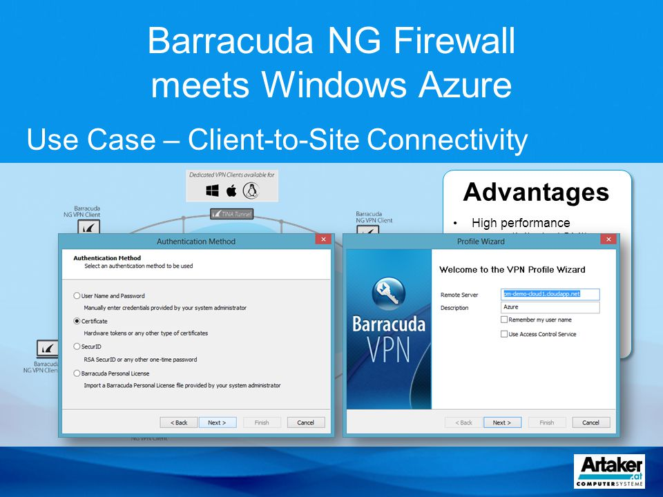 Barracuda NG Firewall meets Windows Azure Advantages High performance connectivity (> 1Gbit) by using TINA protocol High availability Access Control based on user ID Central management via Barracuda NG Control Center Advantages High performance connectivity (> 1Gbit) by using TINA protocol High availability Access Control based on user ID Central management via Barracuda NG Control Center Use Case – Client-to-Site Connectivity