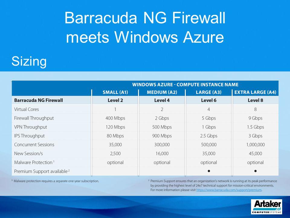 Barracuda NG Firewall meets Windows Azure Sizing