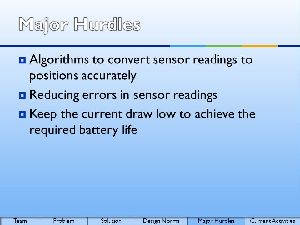 Algorithms to convert sensor readings to positions accurately Reducing errors in sensor readings Keep the current draw low to achieve the required battery life