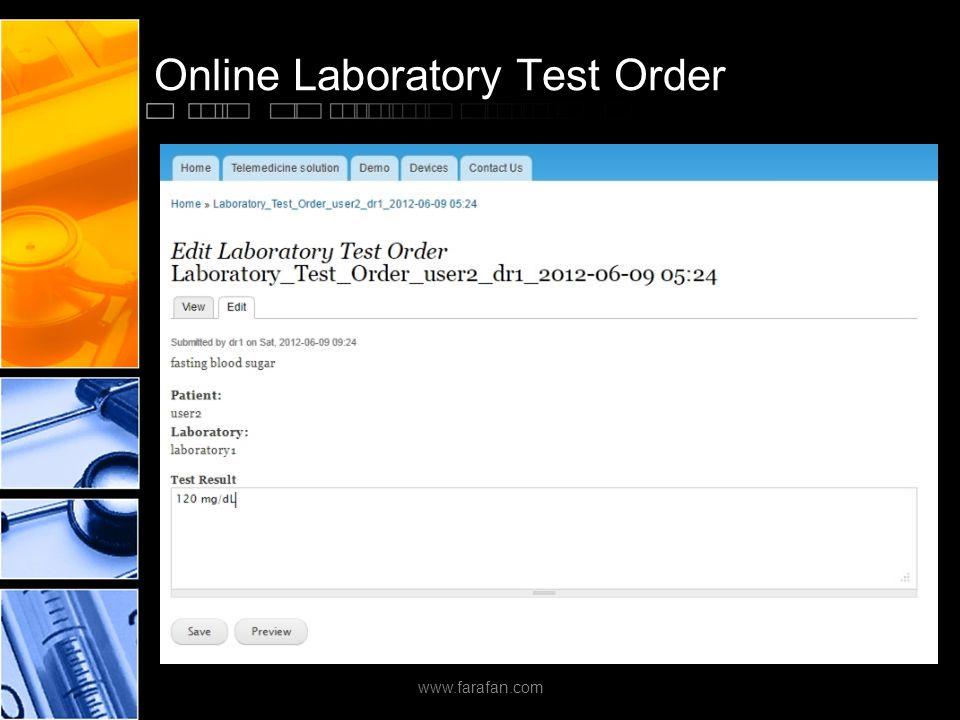Online Laboratory Test Order www.farafan.com