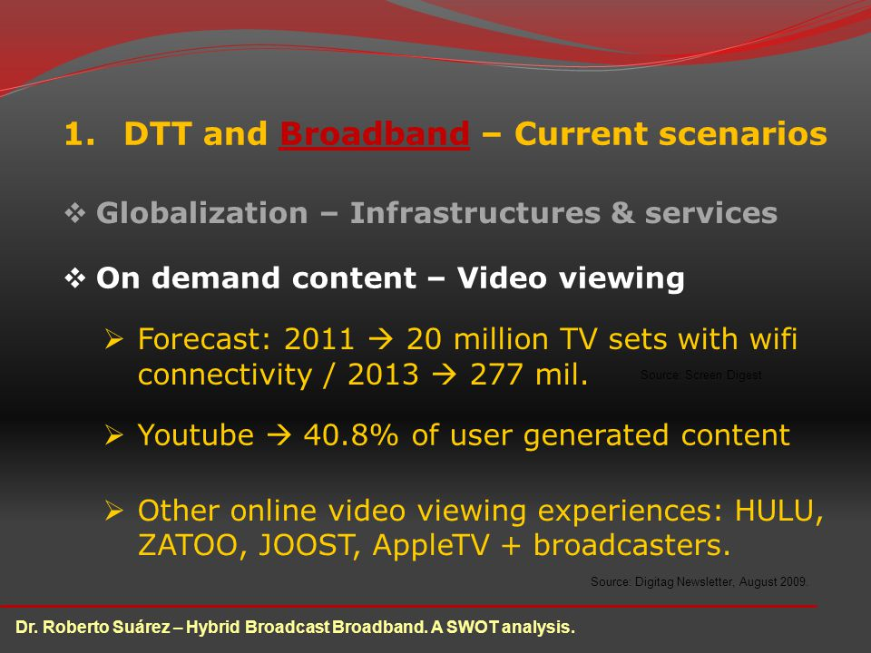 1.DTT and Broadband – Current scenarios Globalization – Infrastructures & services On demand content – Video viewing Dr.
