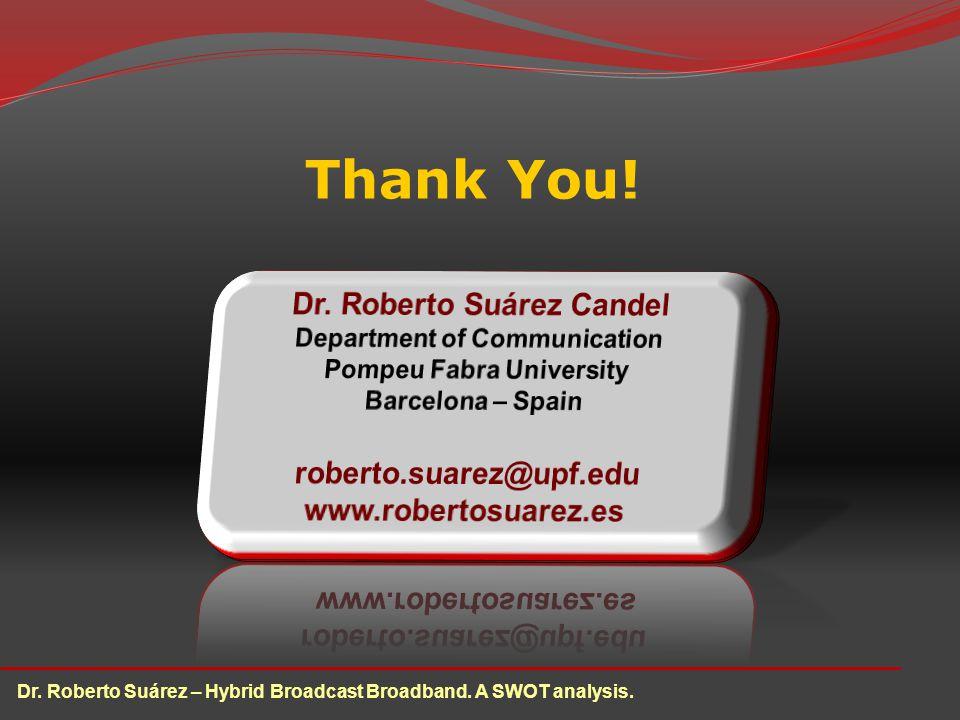Thank You! Dr. Roberto Suárez – Hybrid Broadcast Broadband. A SWOT analysis.