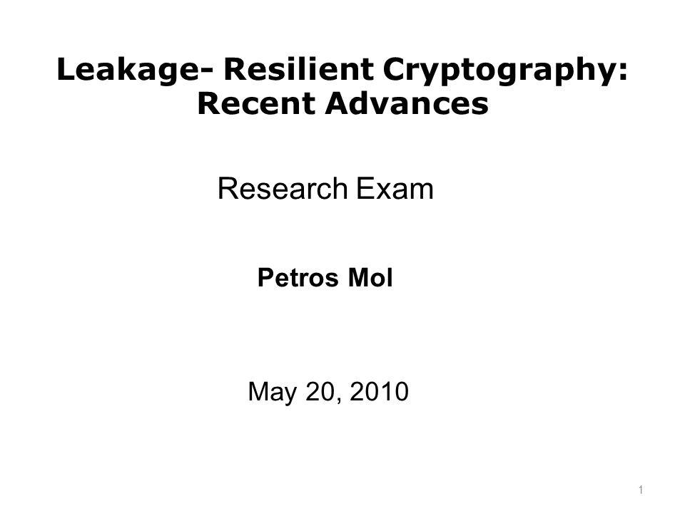 Security definitions for PKE Standard ind/lity under chosen plaintext attacks (IND-CPA) 1.(sk,pk) KeyGen 2.(m 0,m 1,state) A1(pk) 3.c* Enc(pk,m b ) 4.b A2(c*,state) 5.if (b=b) return 1, else return 0 42
