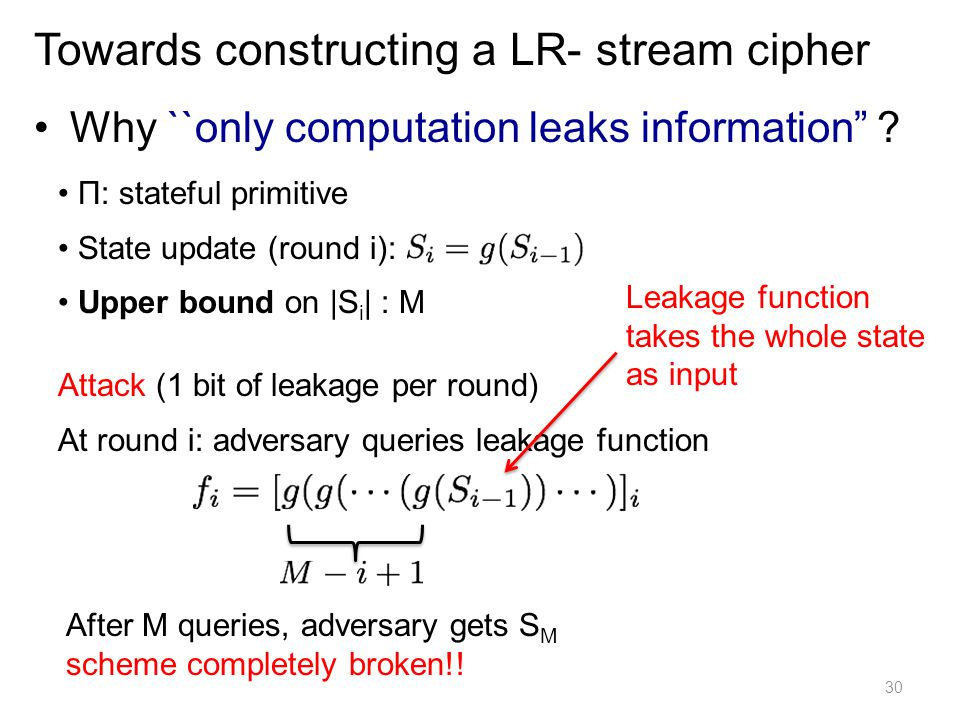 Why ``only computation leaks information ? 30 Towards constructing a LR- stream cipher Π: stateful primitive State update (round i): Upper bound on |S