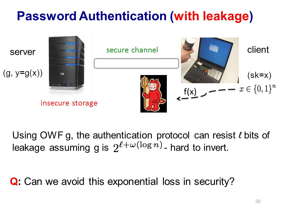38 Password Authentication (with leakage) secure channel client server (g, y=g(x)) (sk=x) insecure storage f(x) Using OWF g, the authentication protoc