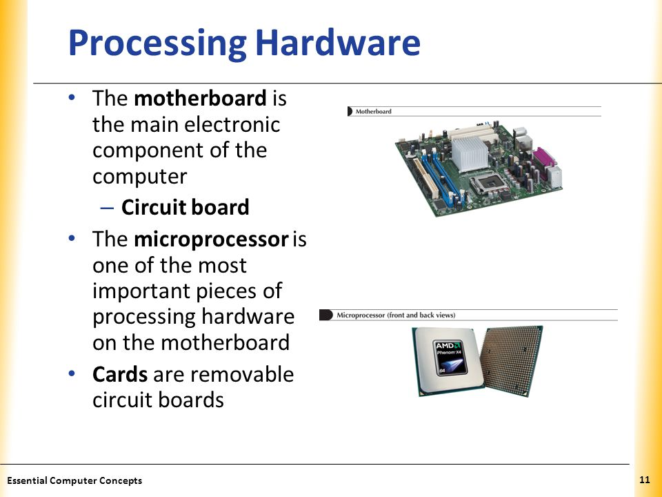 XP Processing Hardware The motherboard is the main electronic component of the computer – Circuit board The microprocessor is one of the most important pieces of processing hardware on the motherboard Cards are removable circuit boards 11 Essential Computer Concepts